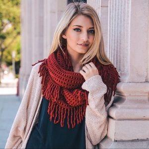 Brick Lattice Knit Fringed Infinity Scarf